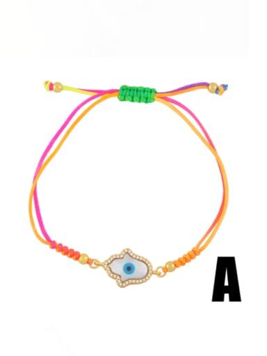Brass Enamel Evil Eye Bohemia Adjustable Bracelet