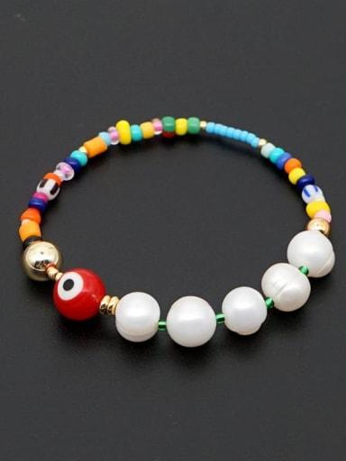 ZZ B200034A Freshwater Pearl Multi Color Miyuki beads Evil Eye Bohemia Stretch Bracelet