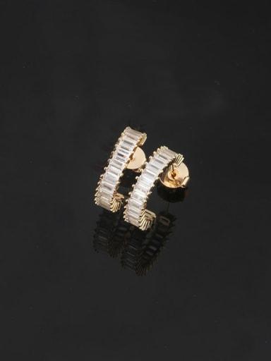 White zirconium Brass Cubic Zirconia Geometric Dainty Stud Earring
