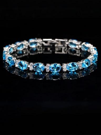 Sea blue Copper Cubic Zirconia Geometric Dainty Bracelet