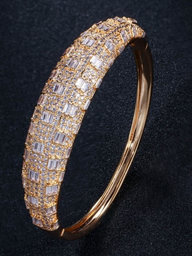 gold Brass Cubic Zirconia Geometric Luxury Band Bangle