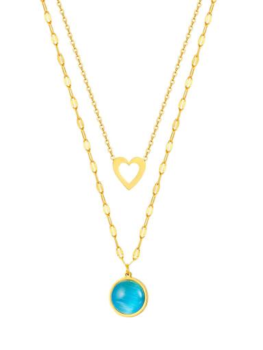 2040 gold necklace Titanium Steel Turquoise Heart Minimalist Multi Strand Necklace