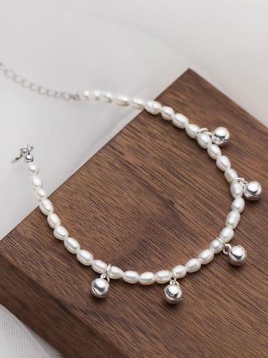 925 Sterling Silver Imitation Pearl Bell Minimalist Beaded Bracelet