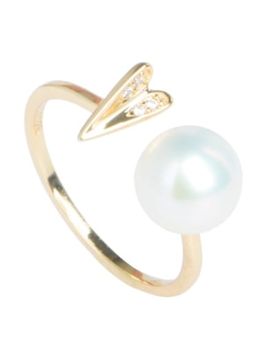Brass Freshwater Pearl Heart Vintage Band Ring