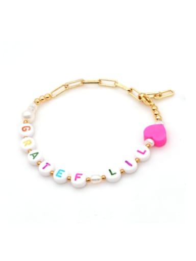 ZZ B200072E Stainless steel Imitation Pearl Multi Color Letter Minimalist Bracelet