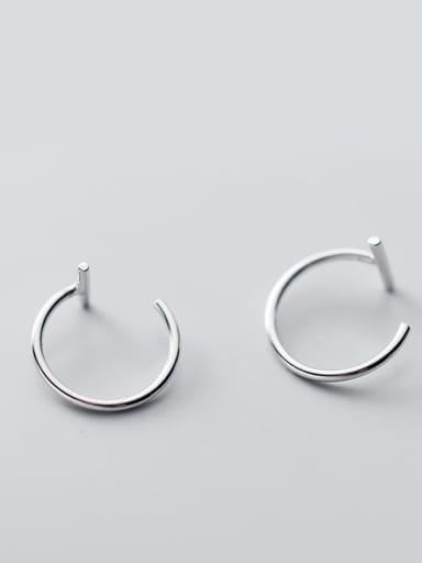 slotted ear hook Silver Large 11mm 925 Sterling Silver Smooth Geometric Minimalist Stud Earring