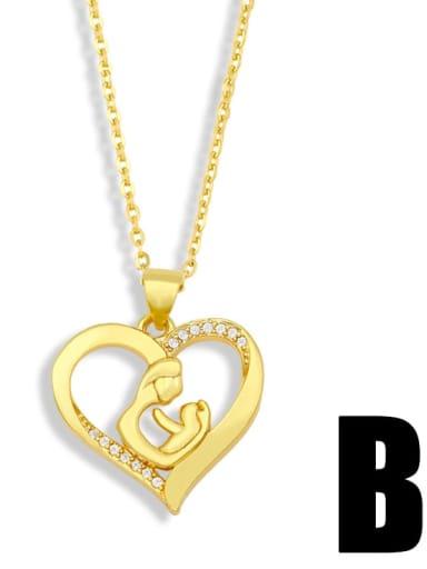 B Brass Cubic Zirconia  Minimalist Love English Letter Mom Necklace