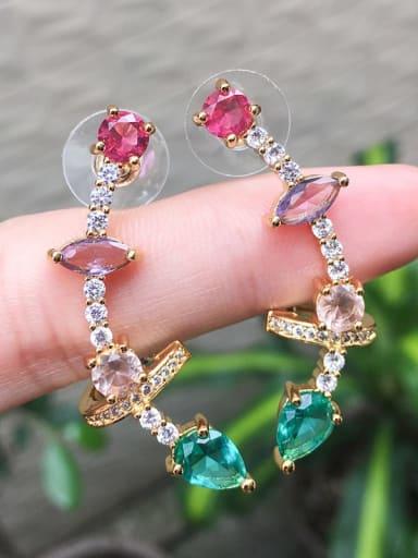 Gold Copper Glass Stone  Geometric Luxury Ear Cuff Earring