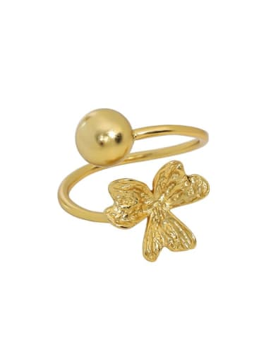 18K gold [11 adjustable] 925 Sterling Silver Bead Clover Cute Band Ring