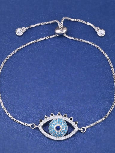 steel Brass Cubic Zirconia Evil Eye Minimalist Adjustable Bracelet