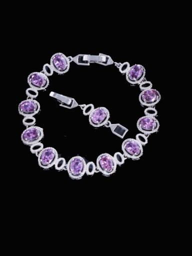 purple Brass Cubic Zirconia Multi Color Oval Luxury Bracelet