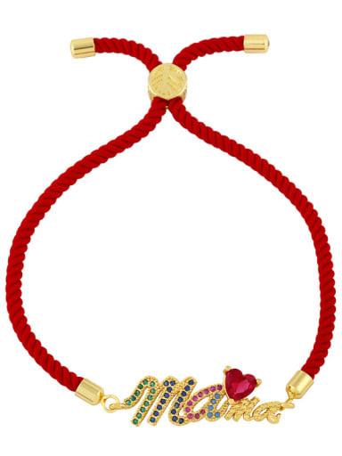Brass Cubic Zirconia Letter Vintage Woven Bracelet