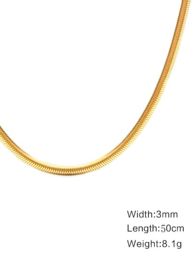 Non-flat snake bone chain gold 50cm Stainless Steel Minimalist Snake Chain