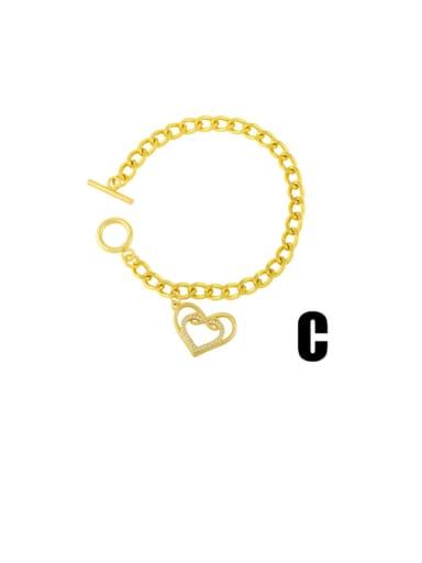 C Brass Cubic Zirconia Heart Vintage Link Bracelet