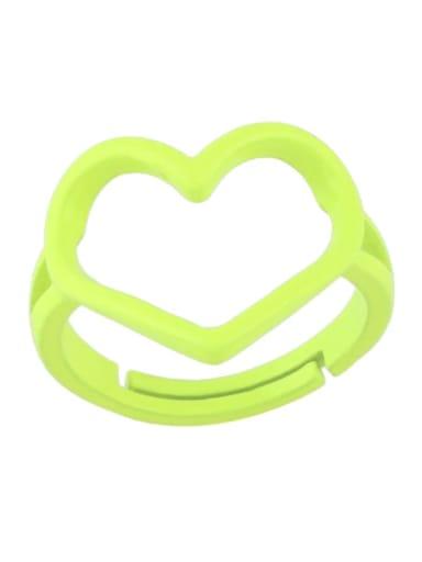 yellow Brass Enamel Hollow Heart Minimalist Stackable Ring