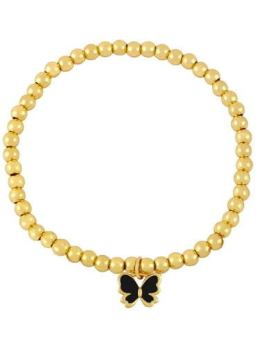 black Brass Enamel Butterfly Minimalist Beaded Bracelet