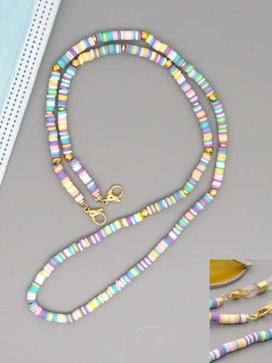 RT N200005C Stainless steel Bead Multi Color Polymer Clay Round Bohemia Hand-woven Necklace