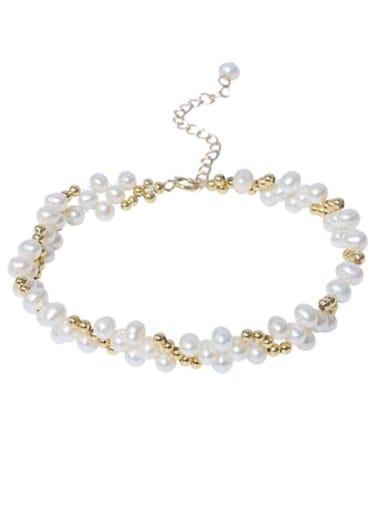 Brass Freshwater Pearl Flower Vintage Beaded Bracelet