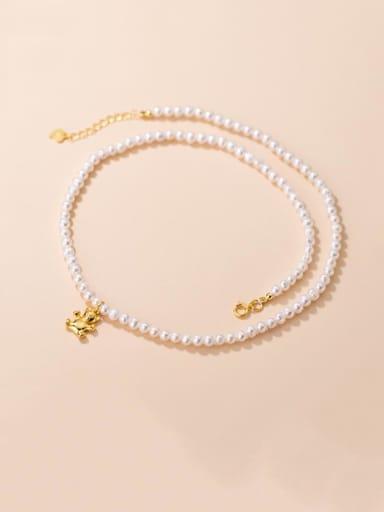 925 Sterling Silver Imitation Pearl Bear Vintage Necklace