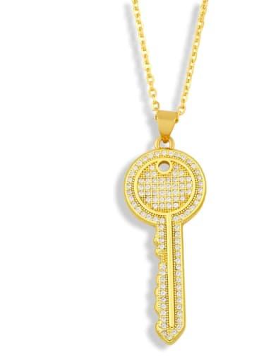 Brass Cubic Zirconia Key Hip Hop Pendant Necklace