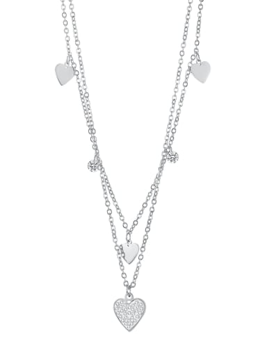 2039 Steel Necklace Titanium Steel Rhinestone Heart Minimalist Multi Strand Necklace