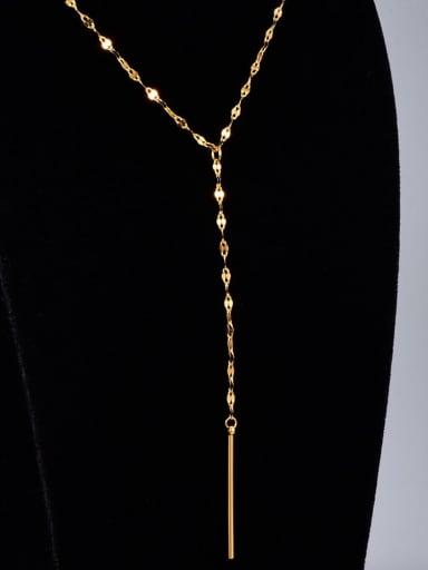 Titanium Tassel Minimalist Lariat Necklace