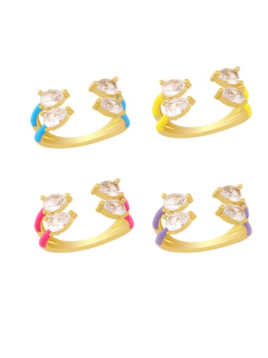 Brass Enamel Water Drop Trend Stackable Ring