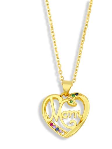 D Brass Cubic Zirconia  Minimalist Letter Heart Pendant  Necklace