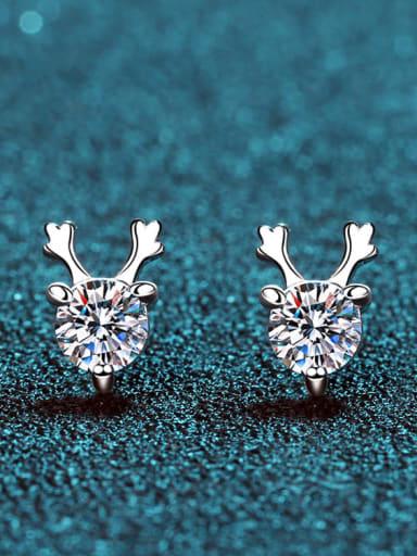 Sterling Silver Moissanite Deer Dainty Stud Earring