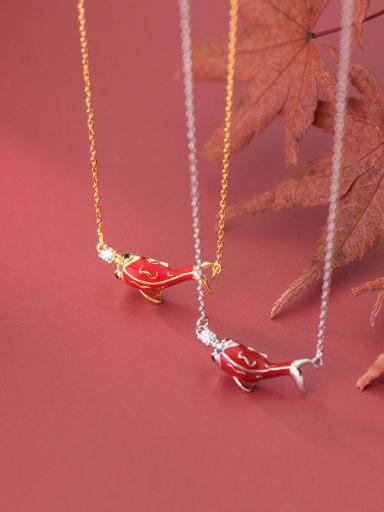 925 Sterling Silver Rhinestone Enamel Fish Cute Necklace