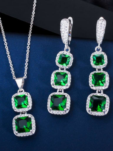 green Brass Cubic Zirconia Luxury Geometric  Earring and Necklace Set