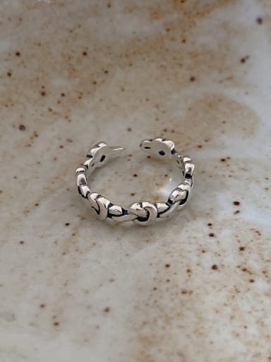925 Sterling Silver Bead Round Minimalist Cocktail Ring