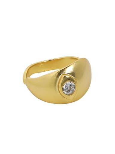 18K gold [No. 14 adjustable] 925 Sterling Silver Rhinestone Irregular Vintage Band Ring