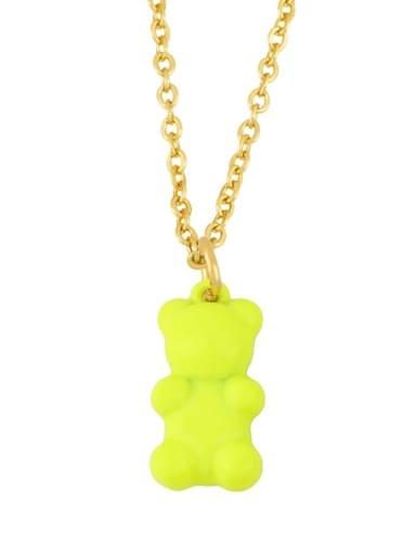yellow Brass Enamel Cute Bear Pendant Necklace