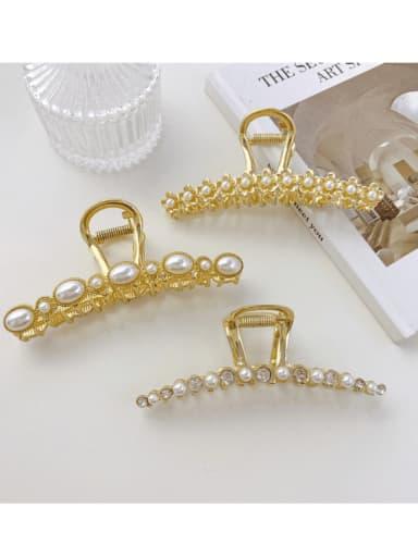 Alloy Imitation Pearl Minimalist Flower  Jaw Hair Claw