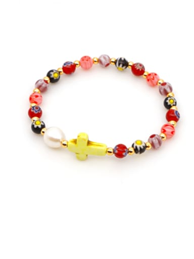 B B200028B Stainless steel Freshwater Pearl Multi Color Round Bohemia Stretch Bracelet