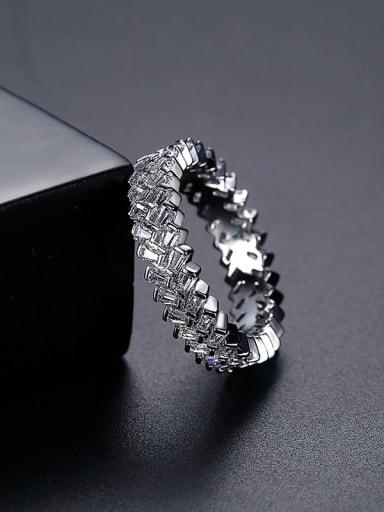 Platinum t17b17 Brass Cubic Zirconia Geometric Dainty Band Ring