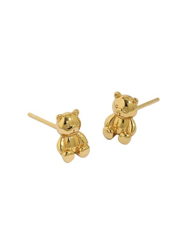 18K gold 925 Sterling Silver Smooth Bear Cute Stud Earring