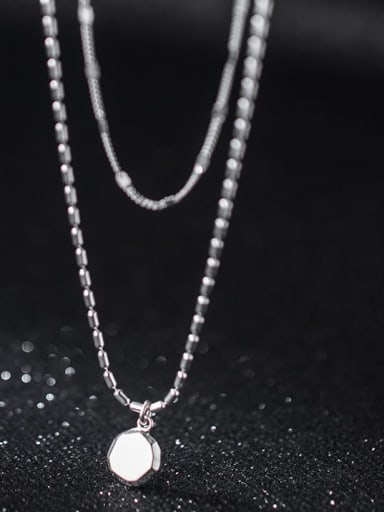 925 Sterling Silver Geometric Minimalist Multi Strand Necklace