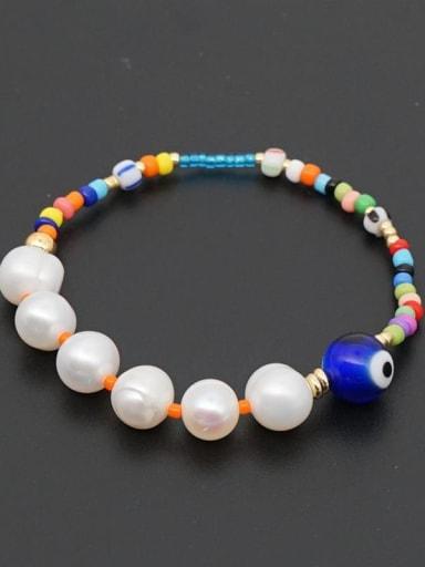 ZZ B200035A Freshwater Pearl Multi Color Miyuki beads Evil Eye Bohemia Stretch Bracelet