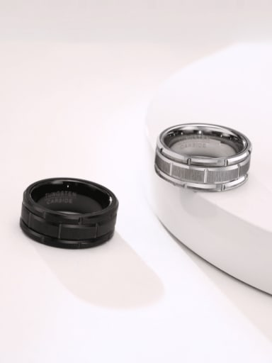 Stainless steel Geometric Hip Hop Band Ring