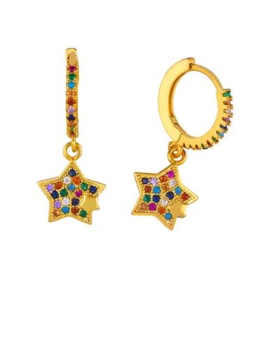 Little star Brass Cubic Zirconia Star Vintage Huggie Earring