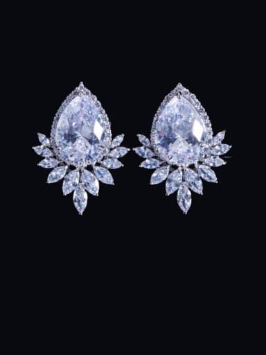 white Brass Cubic Zirconia Water Drop Luxury Cluster Earring