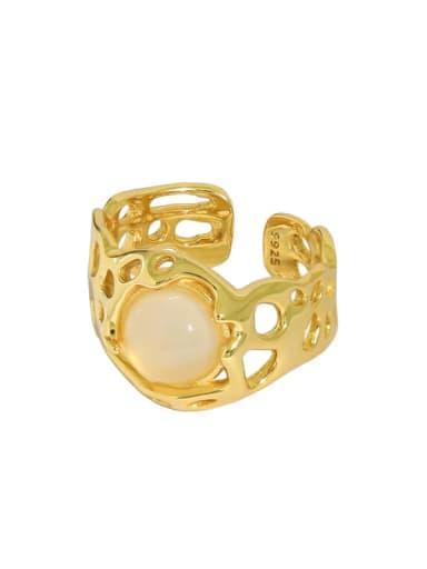 Gold [13 adjustable] 925 Sterling Silver Cats Eye Irregular Vintage Band Ring