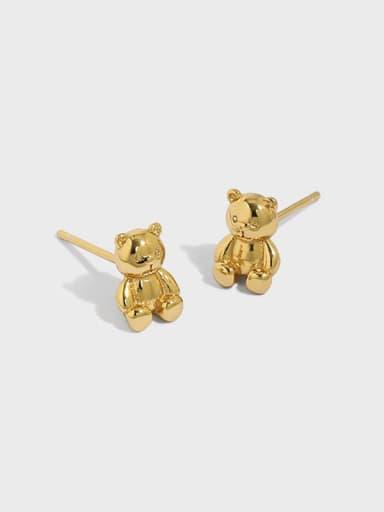 925 Sterling Silver Smooth Bear Cute Stud Earring