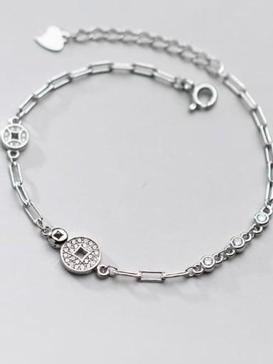 925 Sterling Silver Cubic Zirconia Coin Vintage Link Bracelet