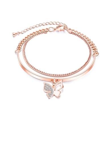 999- Bracelet Copper Rhinestone White Key Minimalist Bangles