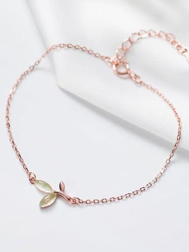 925 Sterling Silver Cats Eye Leaf Minimalist Link Bracelet