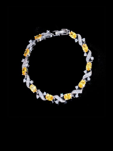 yellow Brass Cubic Zirconia Flower Luxury Bracelet