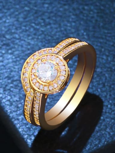 golden Brass Cubic Zirconia Geometric Statement Stackable Ring